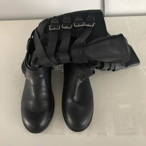 Black Boots - Knee High with Buckle Detail